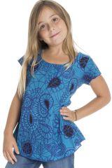 T-shirt été manches courtes enfant à motifs imprimé bleu Kalyani 294053