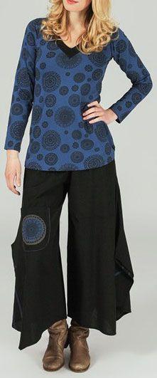 T-Shirt ethnique à imprimé original Bleu Isaure 273899