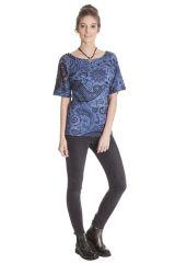 T-shirt ethnique femme imprimé à manches courtes Clémentine 285595