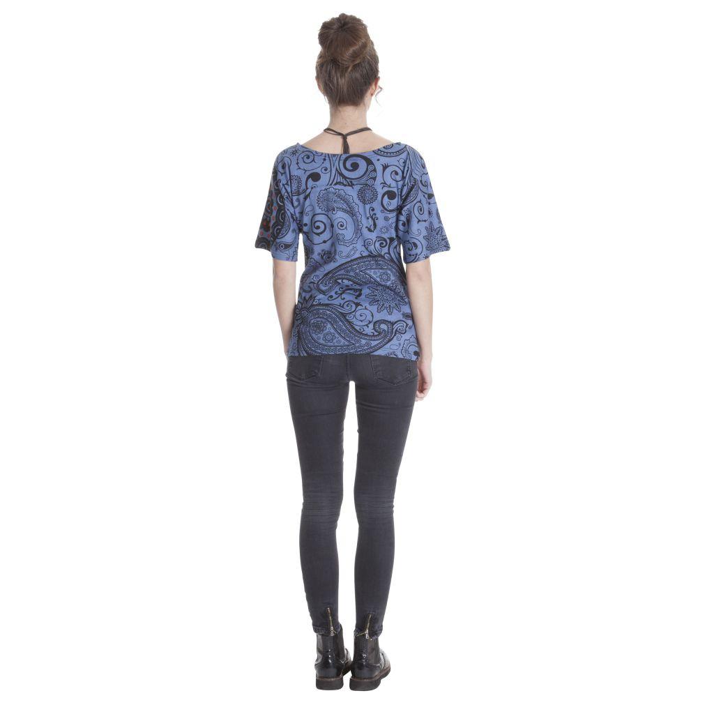 T-shirt ethnique femme imprimé à manches courtes Clémentine 286806