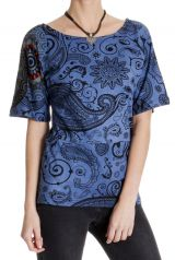 T-shirt ethnique femme imprimé à manches courtes Clémentine 286807
