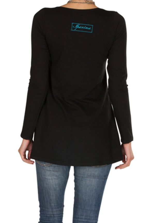 T-Shirt évasé en coton et manches longues Noir Caitlin 301545