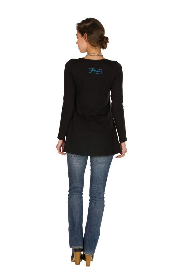 T-Shirt évasé en coton et manches longues Noir Caitlin 301546