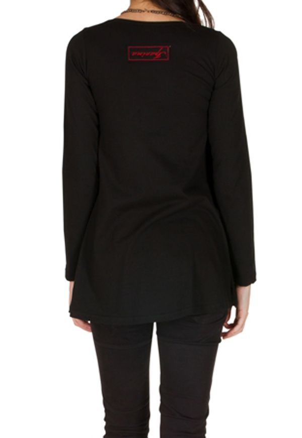 T-Shirt évasé Noir avec imprimé étoilé brodé main Anil 301569