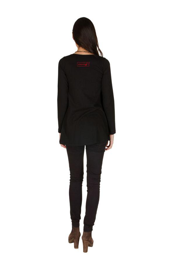 T-Shirt évasé Noir avec imprimé étoilé brodé main Anil 301570