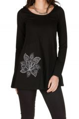 T-Shirt évasé Noir feminin avec col rond et manches longues Alida 301557