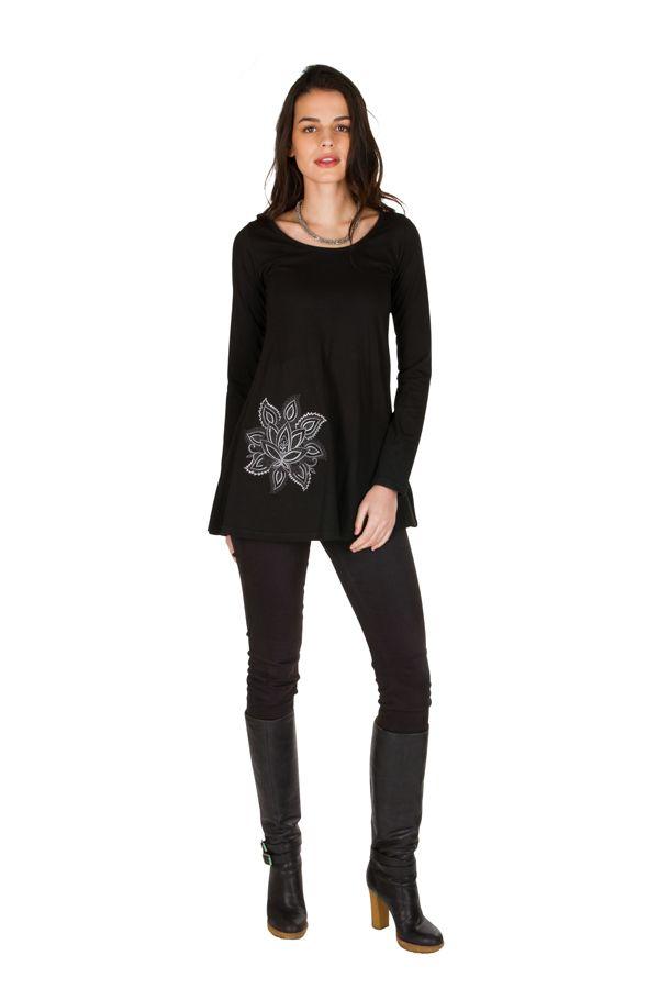 T-Shirt évasé Noir feminin avec col rond et manches longues Alida 301559