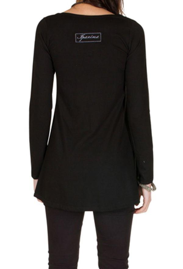 T-Shirt évasé Noir feminin avec col rond et manches longues Alida 301560