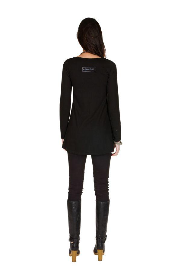 T-Shirt évasé Noir feminin avec col rond et manches longues Alida 301561
