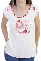 T-shirt fantaisie avec tresse de jersey et imprimé beige Dixy 293778