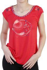 T-shirt fantaisie avec tresse de jersey et imprimé corail Dixy 293595