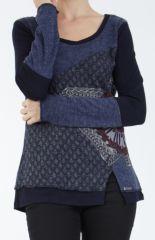 T-shirt femme à manches longues bleu imprimé original Kasty 305002