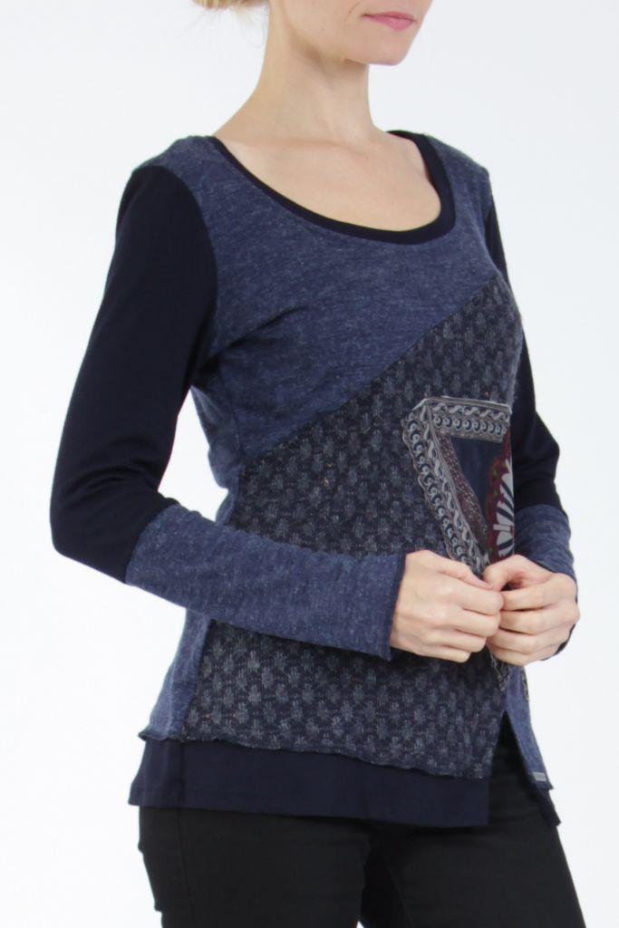 T-shirt femme à manches longues bleu imprimé original Kasty 305003