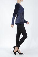T-shirt femme à manches longues bleu imprimé original Kasty 305004