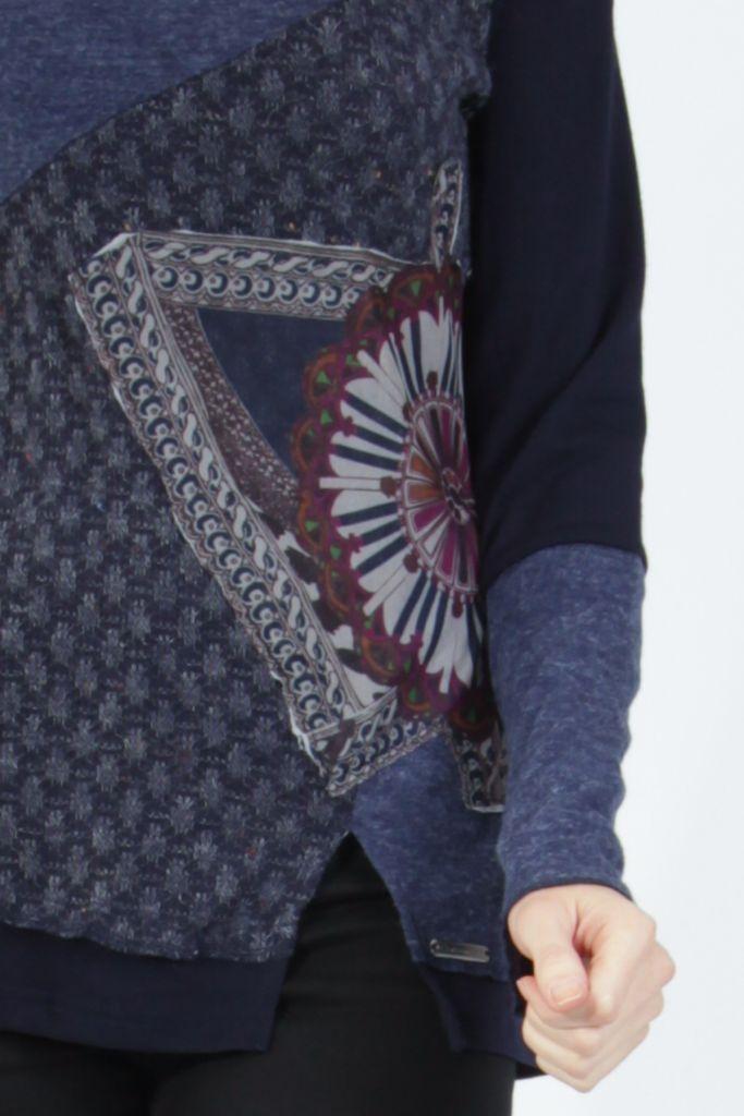 T-shirt femme à manches longues bleu imprimé original Kasty 305005