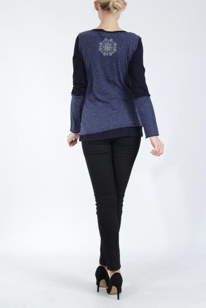 T-shirt femme à manches longues bleu imprimé original Kasty 305006