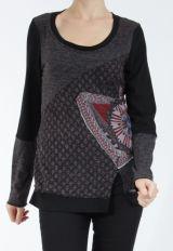 T-shirt femme à manches longues noir imprimé original Kasty 305012