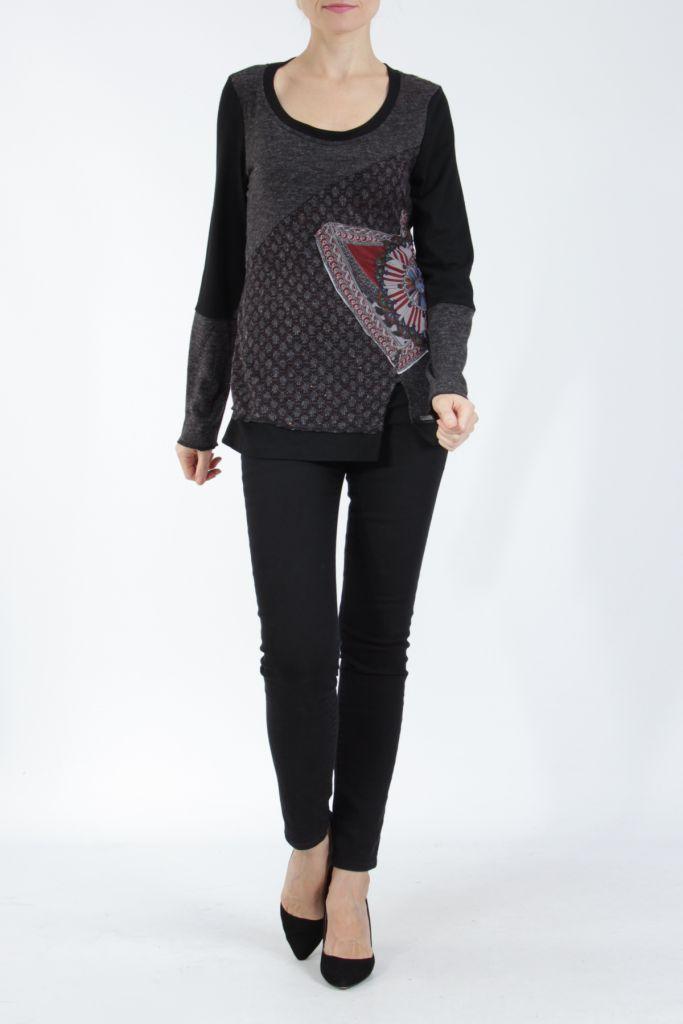 T-shirt femme à manches longues noir imprimé original Kasty 305013