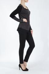 T-shirt femme à manches longues noir imprimé original Kasty 305014