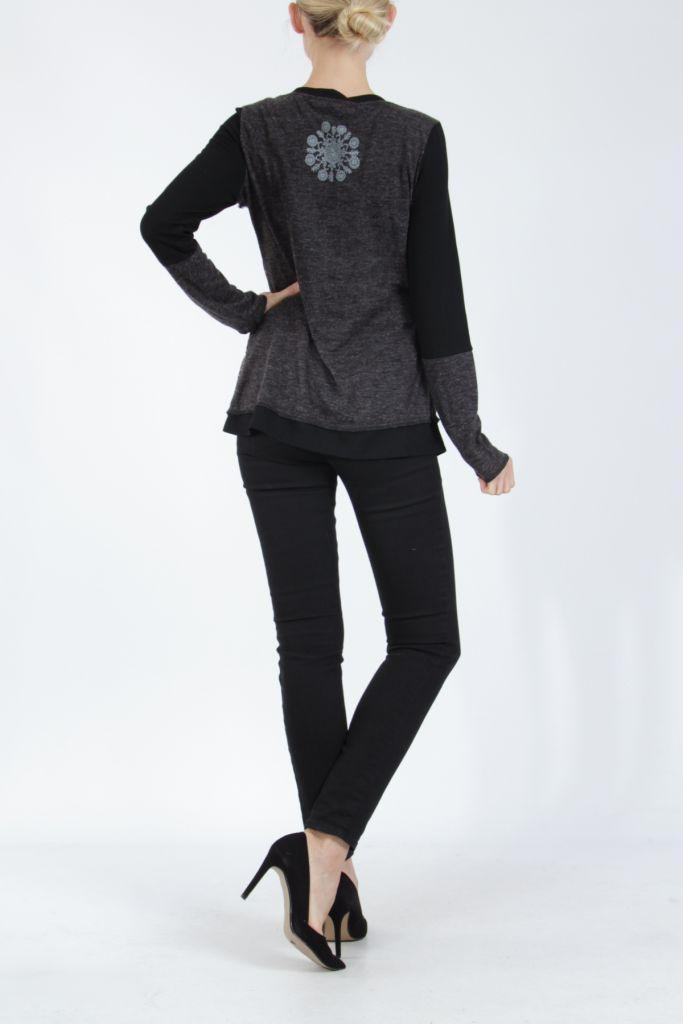 T-shirt femme à manches longues noir imprimé original Kasty 305015