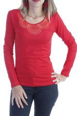 T-shirt femme à manches longues pas cher imprimé ton sur ton rouge Quia 303261