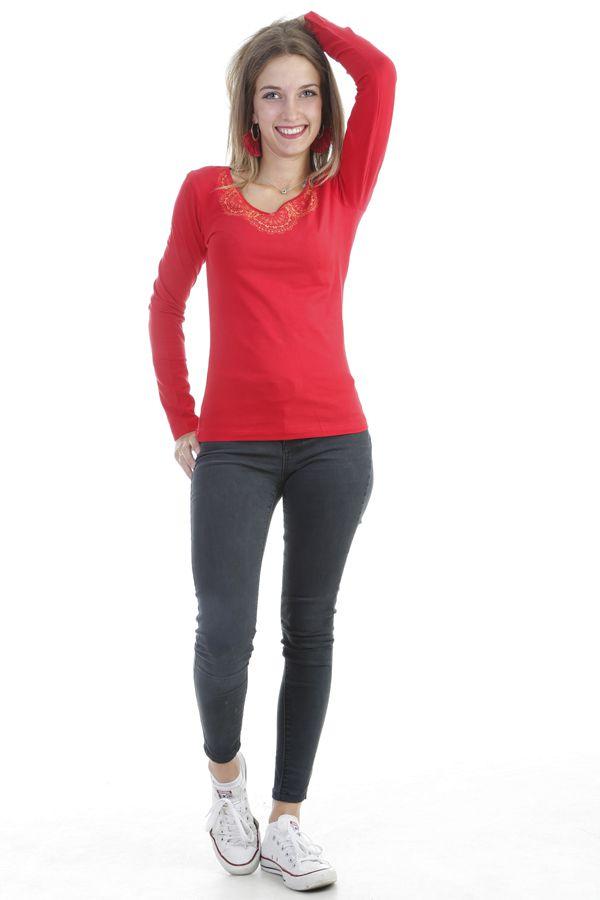 T-shirt femme à manches longues pas cher imprimé ton sur ton rouge Quia 303262