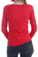 T-shirt femme à manches longues pas cher imprimé ton sur ton rouge Quia 303263