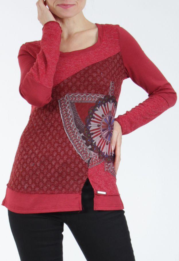 T-shirt femme à manches longues rouge imprimé original Kasty 304994