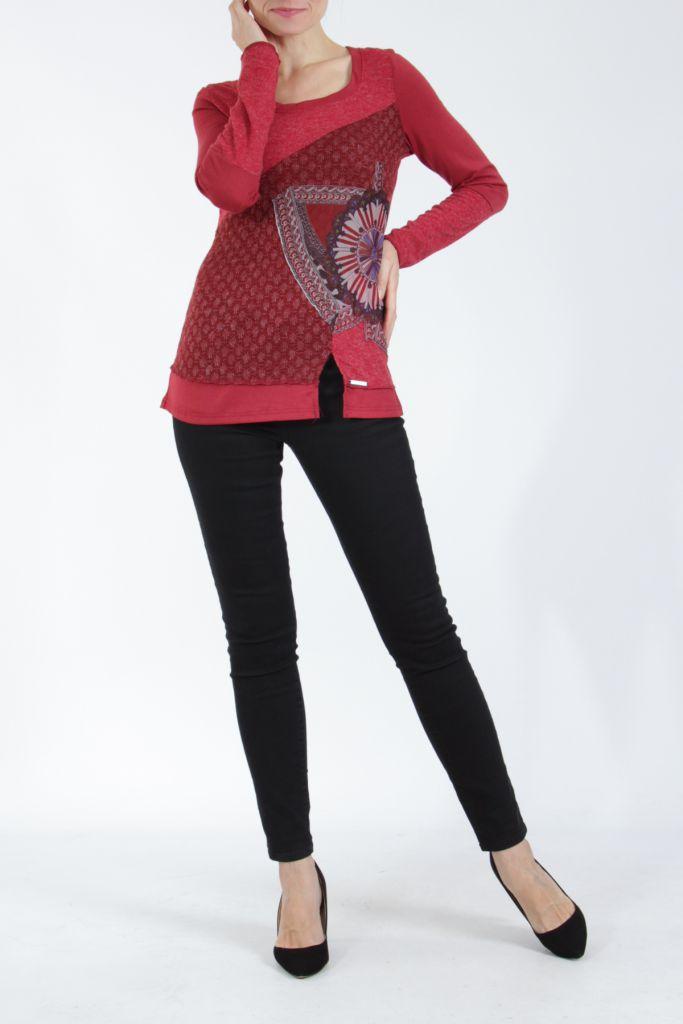 T-shirt femme à manches longues rouge imprimé original Kasty 304995
