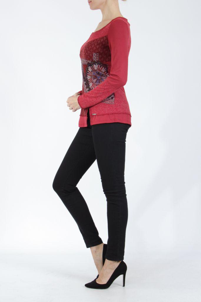T-shirt femme à manches longues rouge imprimé original Kasty 304996