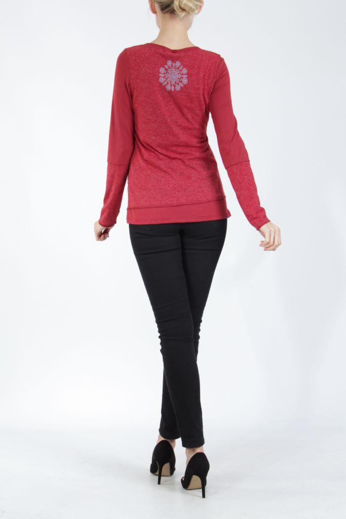 T-shirt femme à manches longues rouge imprimé original Kasty 304997