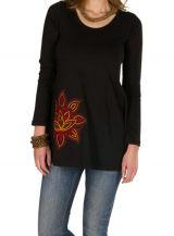 T-Shirt femme en coton Noir coupe droite Gotra 301531