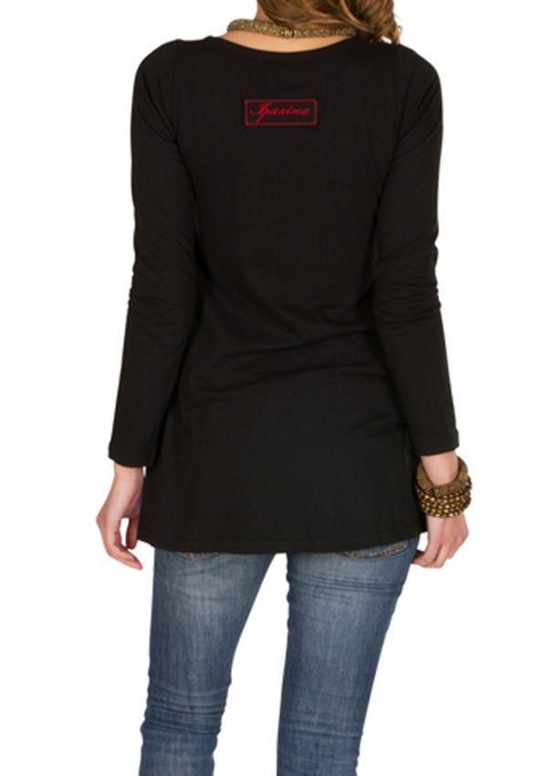 T-Shirt femme en coton Noir coupe droite Gotra 301533
