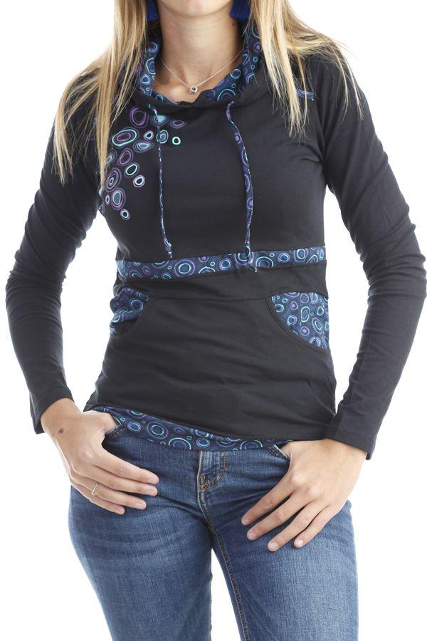 T-shirt femme original avec imprimés colorés et capuche Noir Mina 302577