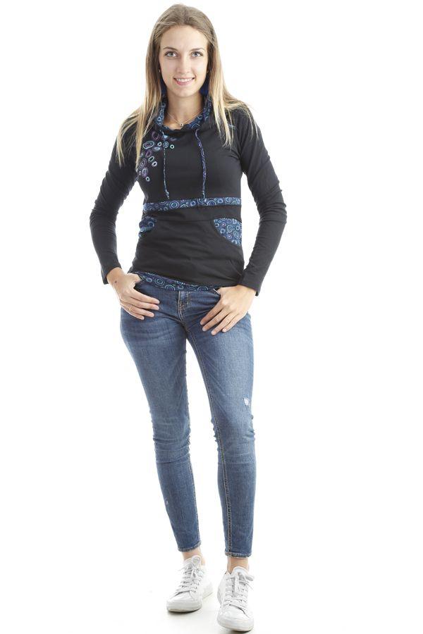 T-shirt femme original avec imprimés colorés et capuche Noir Mina 302578