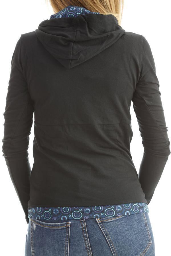T-shirt femme original avec imprimés colorés et capuche Noir Mina 302579
