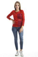 T-shirt femme original avec imprimés colorés et capuche Rouge Mina 302542