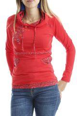 T-shirt femme original avec imprimés colorés et capuche Rouge Mina 302543