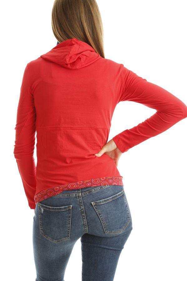 T-shirt femme original avec imprimés colorés et capuche Rouge Mina 302544