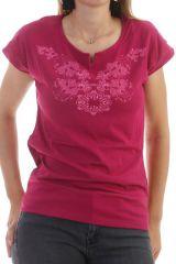 T-shirt glam' à manches courtes et dentelle Framboise Monique 298043