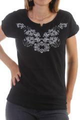 T-shirt glam' à manches courtes et dentelle Noir Monique 298037