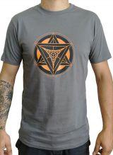 T-shirt Gris homme en coton avec logo géométrique orange Jake 297411