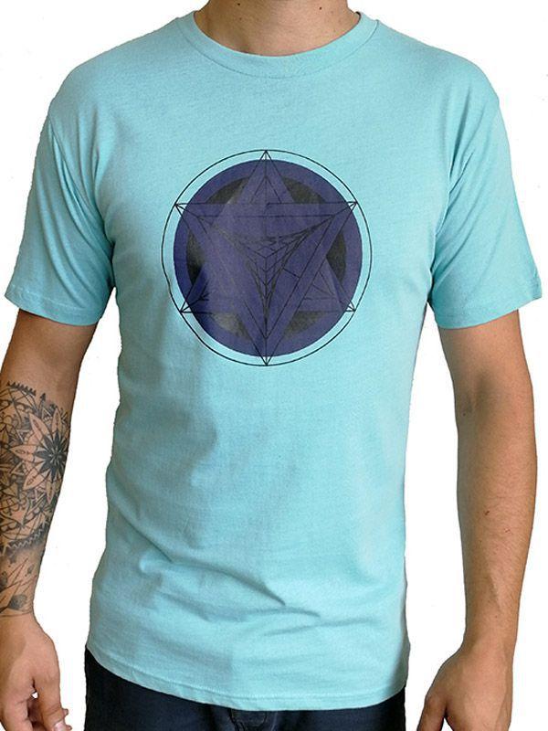 a3c761a442ef T-shirt homme en coton avec pentagramme Jake Bleu ciel 297578. Loading zoom