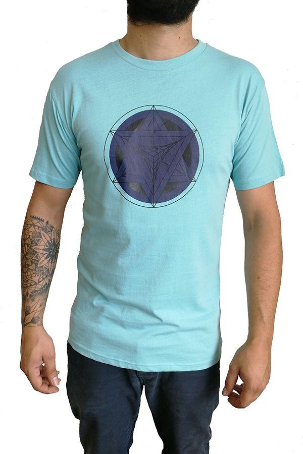 T-shirt homme en coton avec pentagramme Jake Bleu ciel 297579