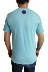 T-shirt homme en coton avec pentagramme Jake Bleu ciel