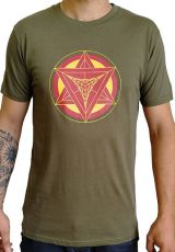 T-shirt homme en coton avec pentagramme Jake kaki 297419