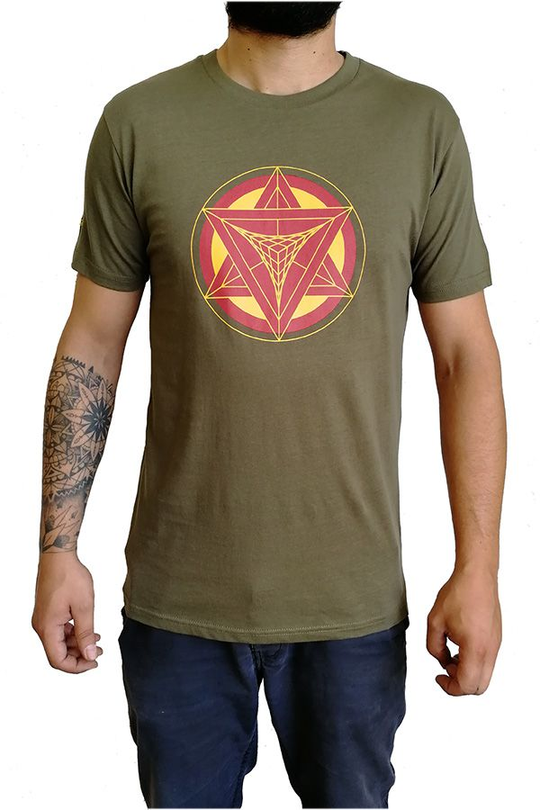 T-shirt homme en coton avec pentagramme Jake kaki 297420