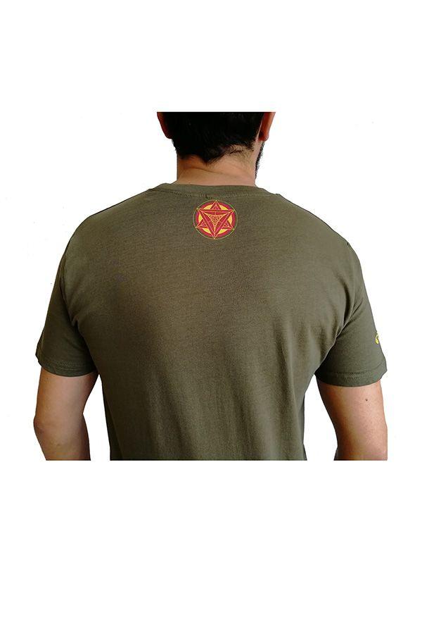 T-shirt homme en coton avec pentagramme Jake kaki 297422