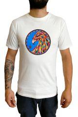T-shirt homme en coton blanc avec Phoenix coloré Clayton 297248