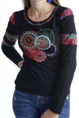 T-shirt imprimé  tendance à manches longues et col rond Noir Tania 302536